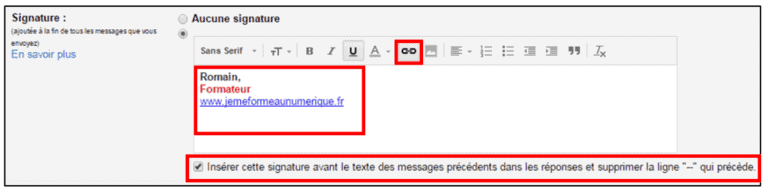 lien signature gmail
