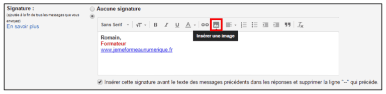 ajouter signature gmail
