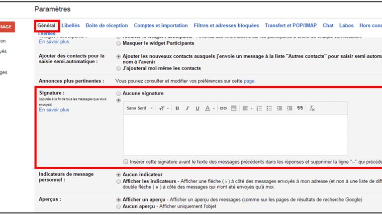 parametre sugnature gmail